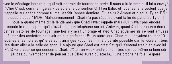 __ •__•__•__•__•__•__•__•__•__•__•__•__•__•__•__•__•__•__•__•__•__•__•__•__•__•__•__•__•__•__•__ __♥ CONVENTIONS__ Ce qui a été dit sur Chad à la convention de Milan.  •__•__•__•__•__•__•__•__•__•__•__•__•__•__•__•__•__•__•__•__•__•__•__•__•__•__•__•__•__•__•__ ___Les 1er et 2 Novembre 2014_____  Source photo :  KLZ Events     __
