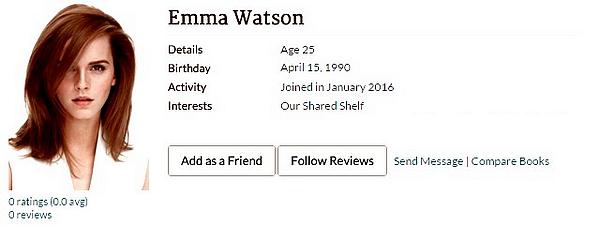 Le profil d'Emma sur Goodreads