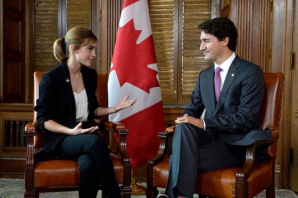 28 septembre 2016 Emma Watson est reçue par Justin Trudeau à Ottawa