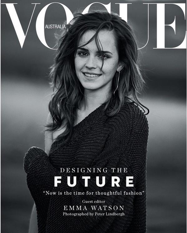 Emma Watson, rédactrice en chef du Vogue Australie de mars 2018.