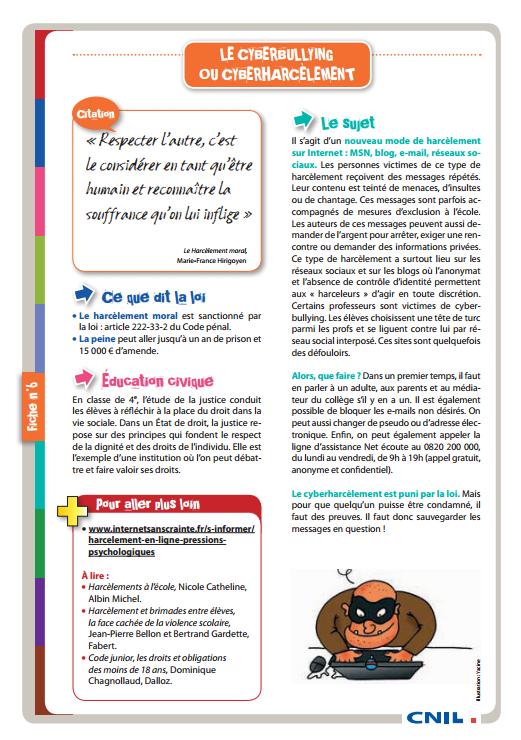 FICHE 6 Le cyberbullying ou cyberharcèlement
