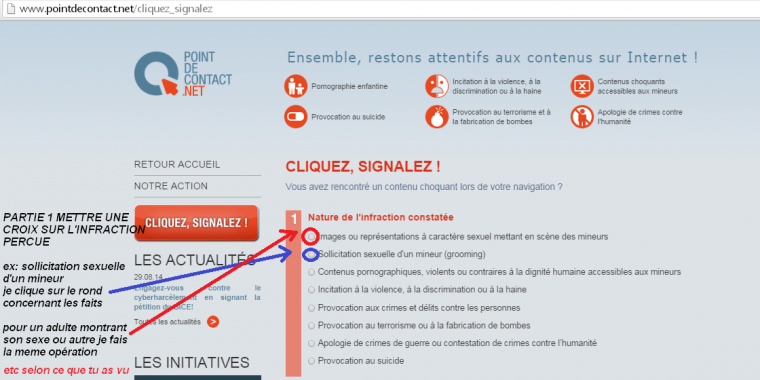 COMMENT FAIRE UN SIGNALEMENT A POINT DE CONTACT ?