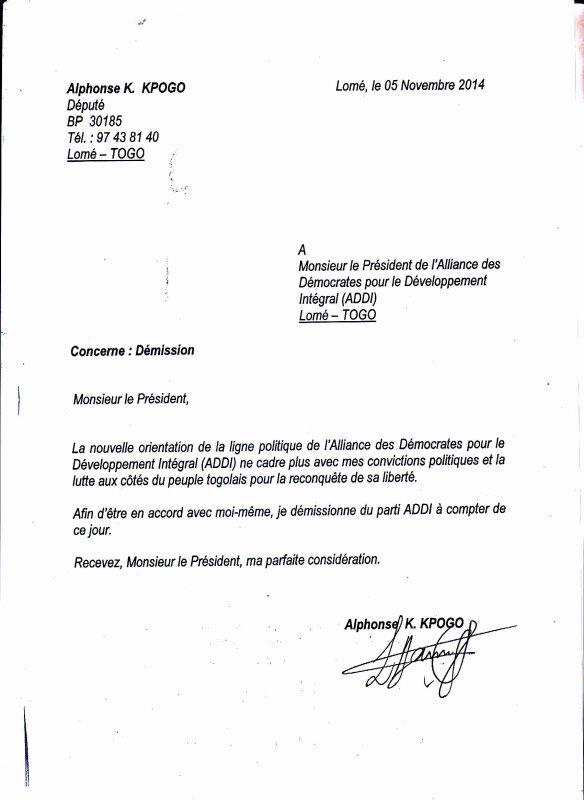 LE DÉPUTÉ ALPHONSE KPOGO DÉMISSIONNE DE  SON PARTI ADDI. LA JEUNESSE SALUE TON HONNÊTETÉ COMBATTANT! .