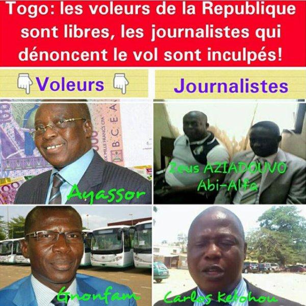 Tentative de musèlement de la Presse critique : Les journalistes Zeus Aziadouvo, Abi-Alfa Izotou et Carlos Ketohou, illégalement inculpés, pour avoir dénoncé la corruption des ministres Ayassor et Gnofam