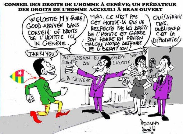 Faure Gnassingbé à la tribune du CDH : Le mythomane sans-gêne entube son auditoire. Sur les Droits de l'Homme, les élections « transparentes », et la « criminalisation » de la torture au Togo !