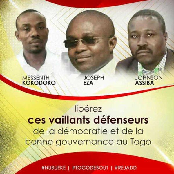 Les Défenseurs des Droits humains et de la Démocratie Assiba Johnson, Messenth Kokodoko et Joseph Eza doivent être libérés