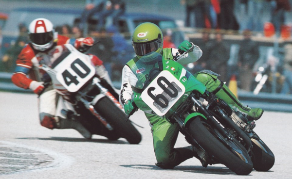 ALDANA (HondaVFF) et Wayne Gardner (GPZ) en Superbike