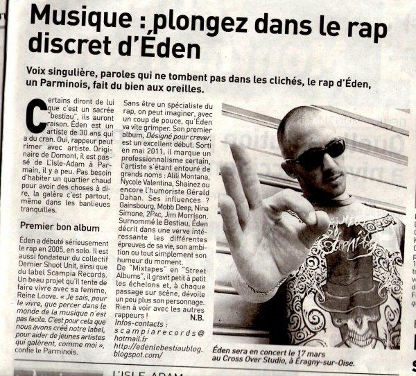 Voici l'Article paru dans le Journal L'Echo (Editions du Val D'Oise) Semaine du 1er Mars...
