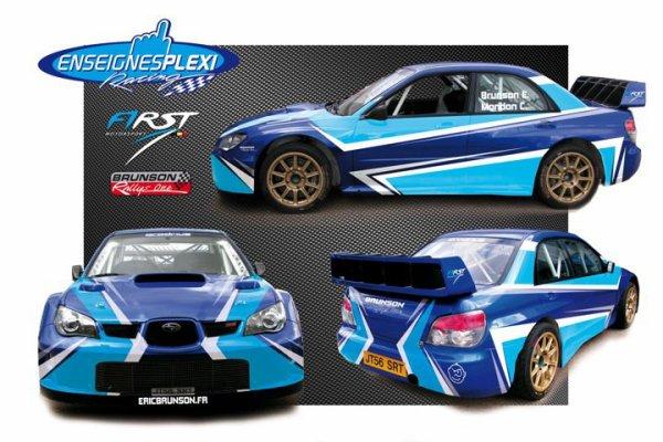 La Subaru d' Eric BRUNSON  avec ses nouvelles couleurs