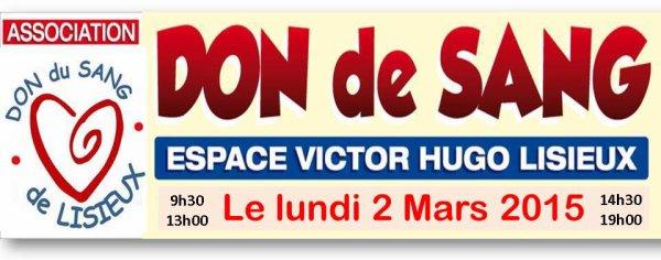 le 02/03/2015 à 09:30 ESPACE VICTOR HUGO - LISIEUX