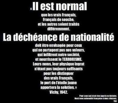 HISTOIRE DE LA DECHEANCE DE LA NATIONALITÉ
