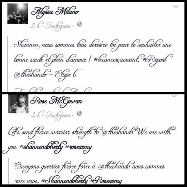 Alyssa Milano et Rose Mcgowan soutiennent leur s½ur aînée à l'écran en lui laissant un message sur les réseaux sociaux.