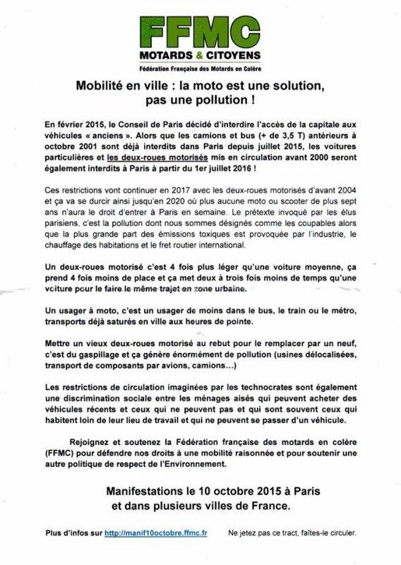 Manifestation nationale le 10 octobre 2015 contre les interdictions de circulation des deux-roues motorisés en ville - Fédération Française des Motards en Colère