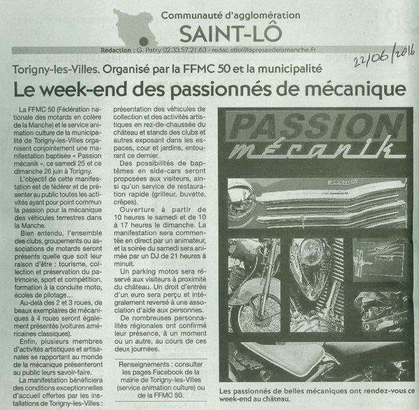 """ARTICLE """"PASSION MECANIC"""" Presse de la Manche du 22 juin 2016"""
