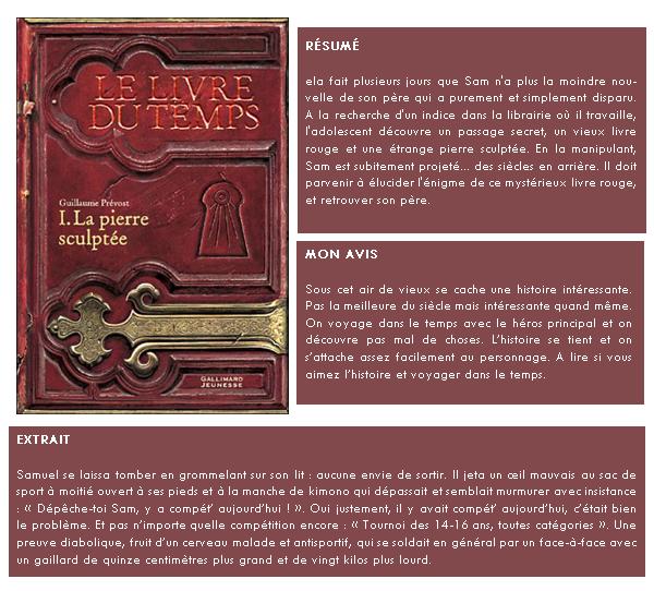 Le livre du temps : Tome 1, La pierre sculptée / Guillaume Prévost