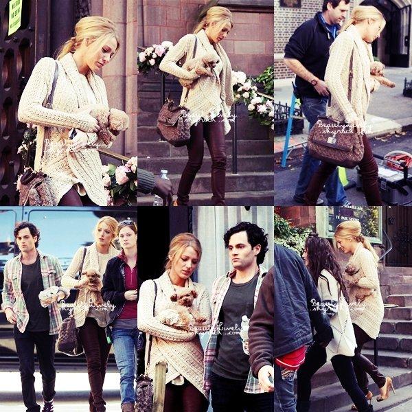 10/11 Blake a été aperçu une fois de plus sur le tournage de Gossip Girl à New York.