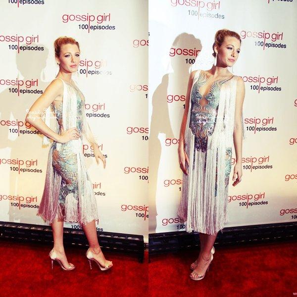 19/11 La resplendissante Blake s'est rendue à la soirée de célébration du 100ème episode de Gossip Girl.