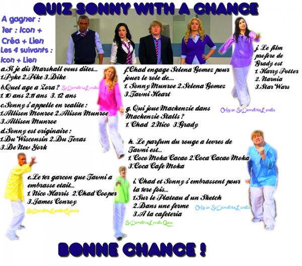 Pour bien commencer cette semaine Sonny With A Chance, Un petit Quiz!