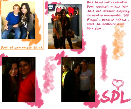 Le 14 Mars 2011 , Demi s'est rendu au 'Six Flags' où elle a rencontré quelques fans . + Photo de Demi et son cousin , prise à une date inconnue .