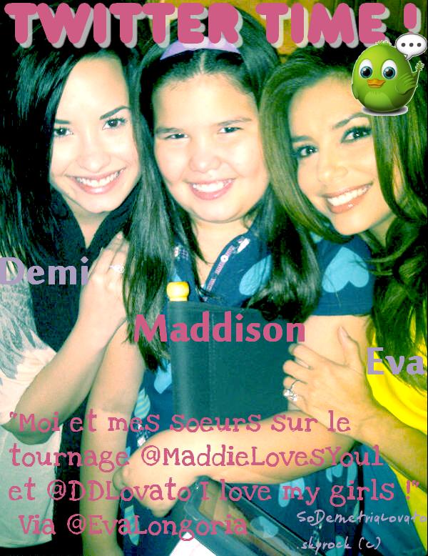 Le 6 Avril 2011 , Demi s'est rendu sur le plateau de tournage de Desperate Housewives rendre visite à sa demi-soeur Maddison et à son amie Eva Longoria .