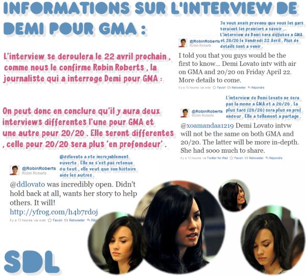 Informations à propos de l'interview de Demi Lovato pour GMA et 20/20 ; Vidéo de Demi pour Cambio ; Twitter's news .
