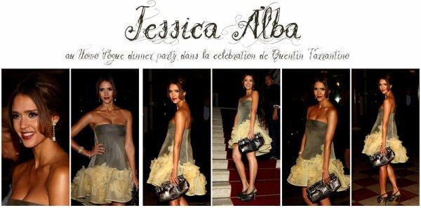 Jessica Alba était au Uomo Vogue dinner party dans la célébration de Quentin Tarrantino mardi soir (le 31 août).Magnifique.Top.