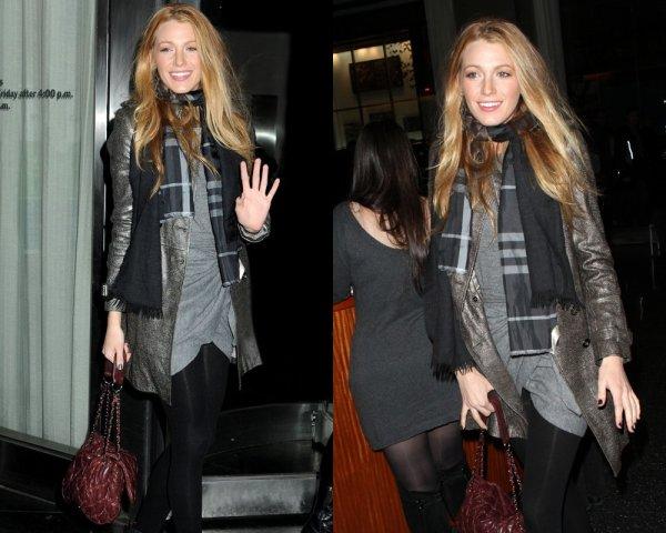 """Blake Lively a été repérée à la première de """"Blue Valentine"""" à New York la nuit dernière (Décembre 7)."""