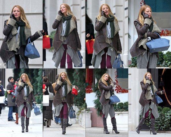 """Blake Lively a été repéré en se rendant sur le tournage de """"Gossip Girl"""" à New York aujourd'hui (Décembre 13).It's A TOP !"""