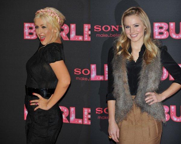 """Christina Aguilera et Kristen Bell ont été repérées lors de l'avant-première de """"Burlesque"""" à Berlin, Allemagne d'aujourd'hui (Décembre 16).Magnifique."""
