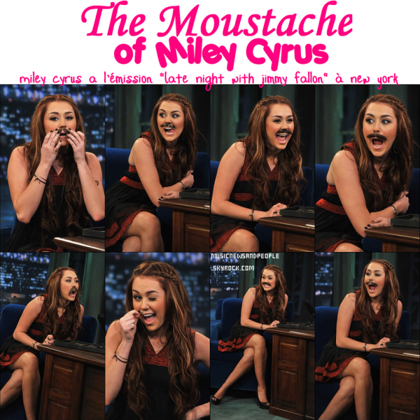 """MILEY AND HER MOUSTACHE !! Miley Cyrus a l'émisson """"Late Night with Jimmy Fallon"""" à New York le jeudi (Mars 3)."""