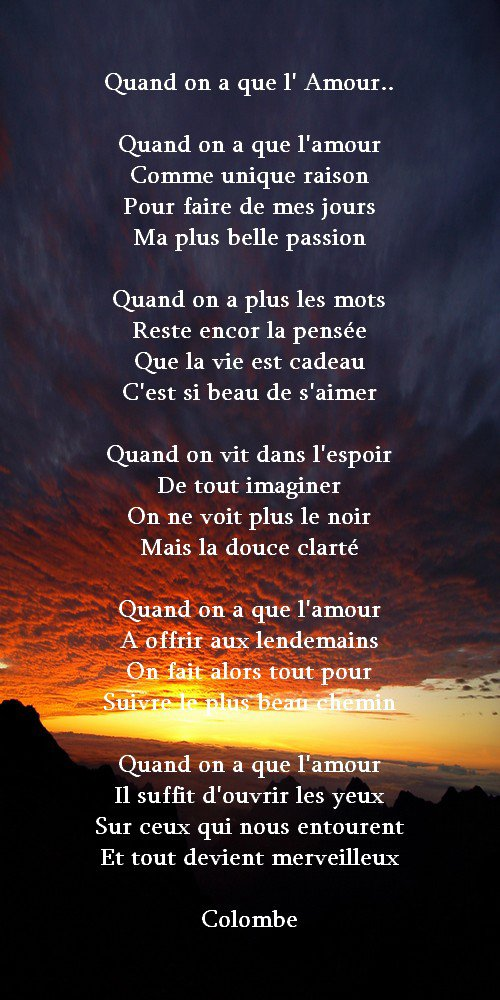 Quand on a que l'amour..