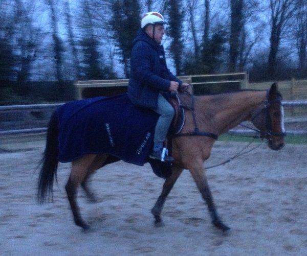 "Avec le cheval de Ludovic ""Biloute"""