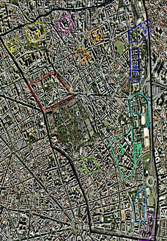 Carte des cités/quartiers du 20e Arrondissement