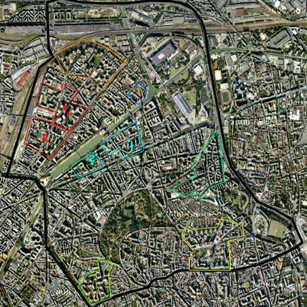Carte des cités/quartiers du 19e Arrondissement