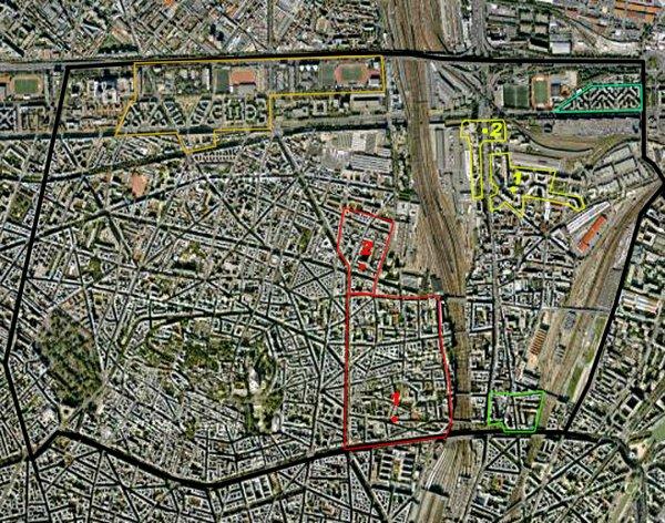 Carte des cités/quartiers du 18e Arrondissement