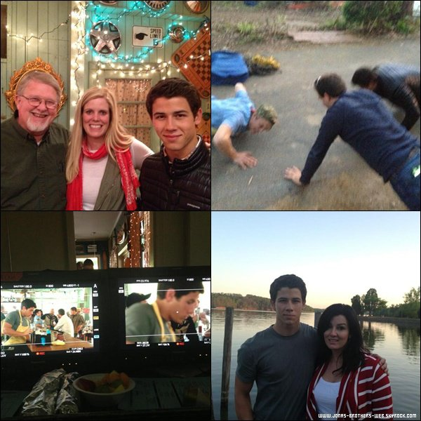 Le 26 Avril 2013 | Nick et sa mère était sur le plateau de son nouveau film en Caroline du Nord.