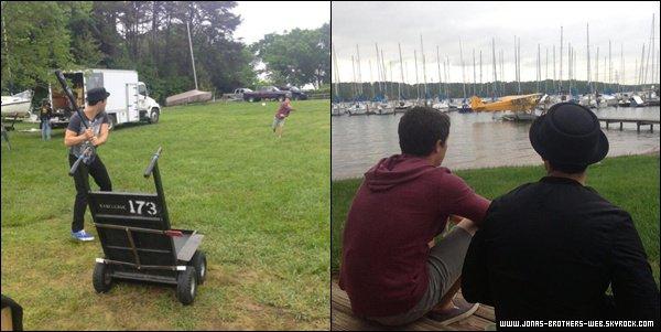 Le 02 Mai 2013 | Joe et Nick sur le se du film de Nick en Caroline du Nord.