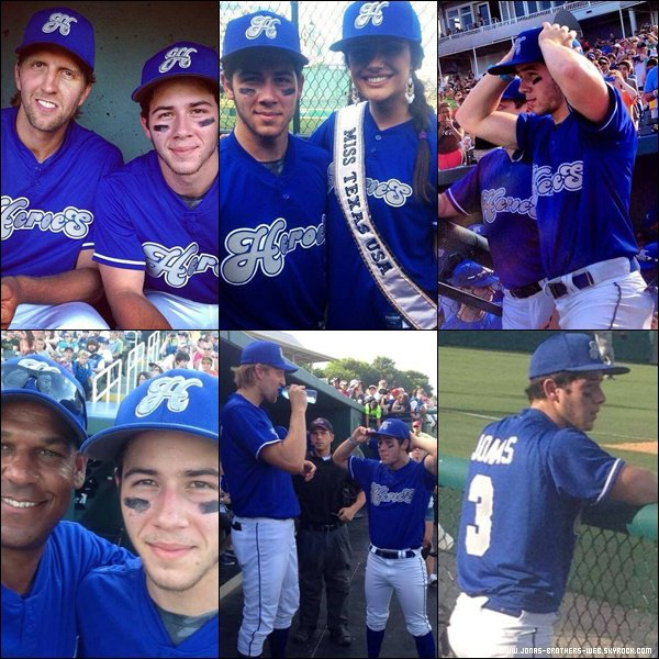 Le 29 Juin 2013 | Nick a fais un match de baseball avec d'autres célébrité. Il a eu une petite blessure, rien de grave..