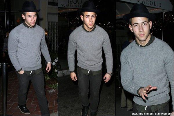 Le 01 Novembre 2013 | Nick sortant du Sunset Marquis Hotel, L.A.