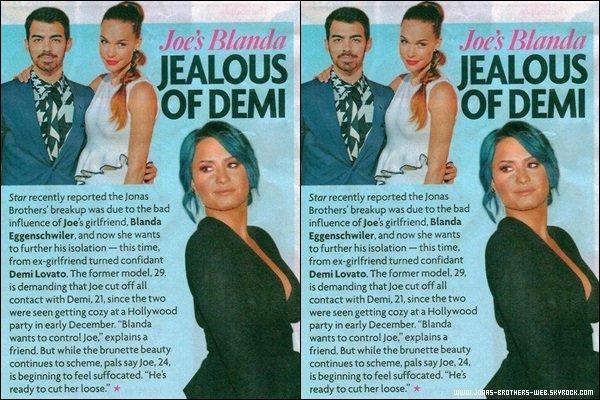 Scan | Scan d'un magazine disant que Blanda serait jalouse de la relation que Joe et Demi ont.