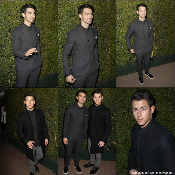 "Le 25 Février 2014 | Joe et Nick sont allé au BVLGARI Presents ""Decades Of Glamour""."