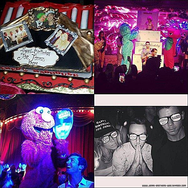 Le 15 Août 2014 | Joe et Nick ont fêter l'anniversaire de JJ à Beacher's Madhouse, Las Vegas.
