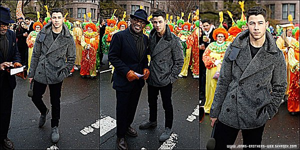 Le 27 Novembre 2014 | Nick au 88th Annual Macy's Thanksgiving Day Parade à New York.