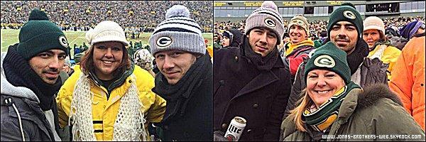 Le 11 Janvier 2015 | Joe et Nick au match entre les Green Bay Packers et les Dallas Cowboys dans le Wisconsin.