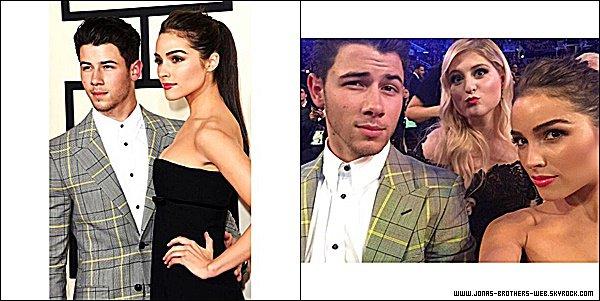 Le 08 Février 2015 | Nick et sa chérie Olivia sont allé au 57th Annual GRAMMY Awards à Los Angeles.