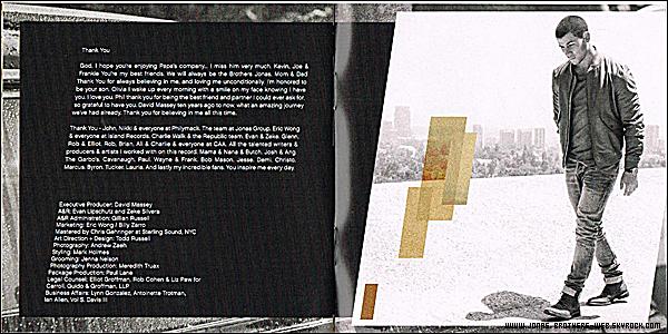 "Album   Aperçut du livret de l'album ""Nick Jonas""."