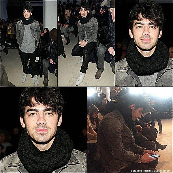 Le 14 Février 2015 | Joe s'est rendu au défilé Moncler Grenoble Fall/Winter 2015 à New York.