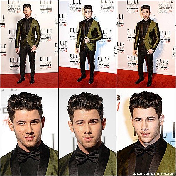Le 24 Février 2015 | Nick s'est rendu au ELLE Style Awards 2015 à Londres.