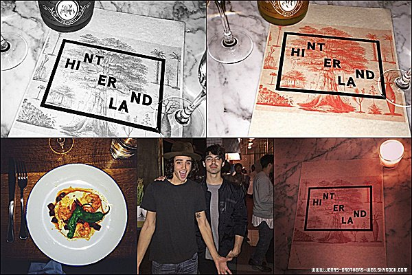 "Le 01 Mars 2015 | Joe a ouvert son premier restaurant appelé ""HINTERLAND"" à Santa Monica. So proud !"