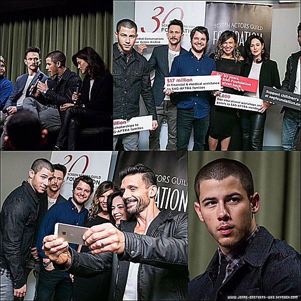 "Le 17 Juin 2015 | Nick s'est rendu avec le cast de ""Kingdom"" au The SAG Foundation à Los Angeles."